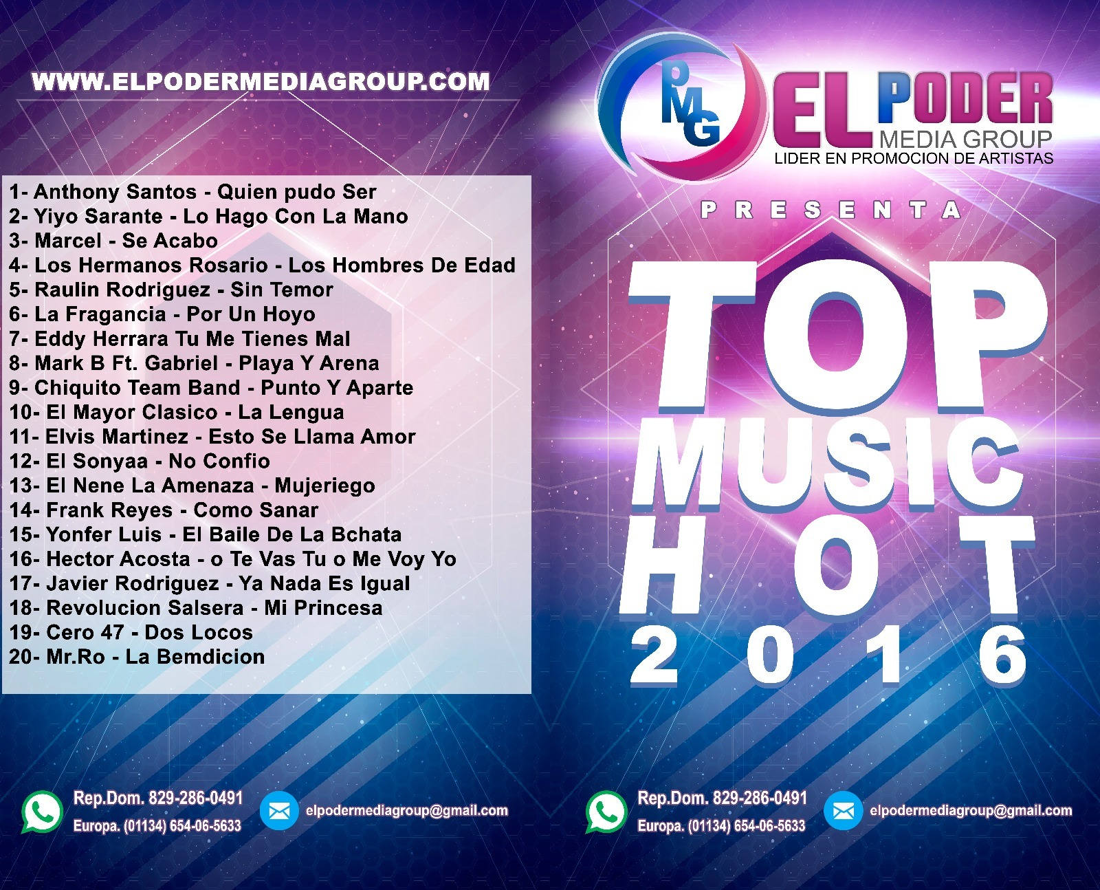 EL PODER MEDIA GROUP PRESENTA: TOP MUSIC HOT 2016 (CD 2016)